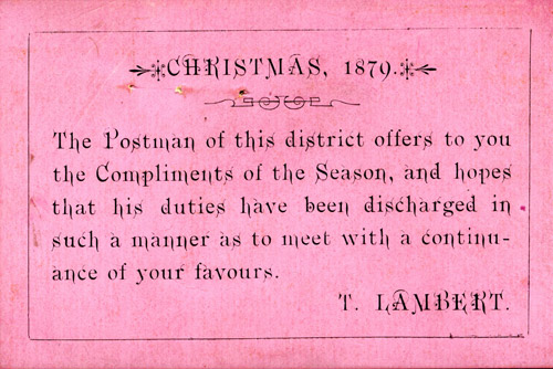 Postman's Christmas greetings card, issued to customers in the hope of receiving a gratuity (POST 30/1813)