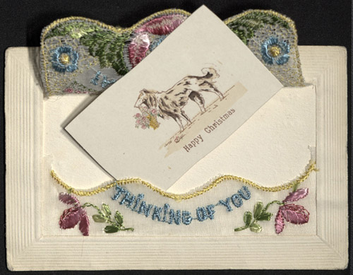 Embroidered Christmas card by Visé Paris, c.1914-1918 (OB1995.162/30)
