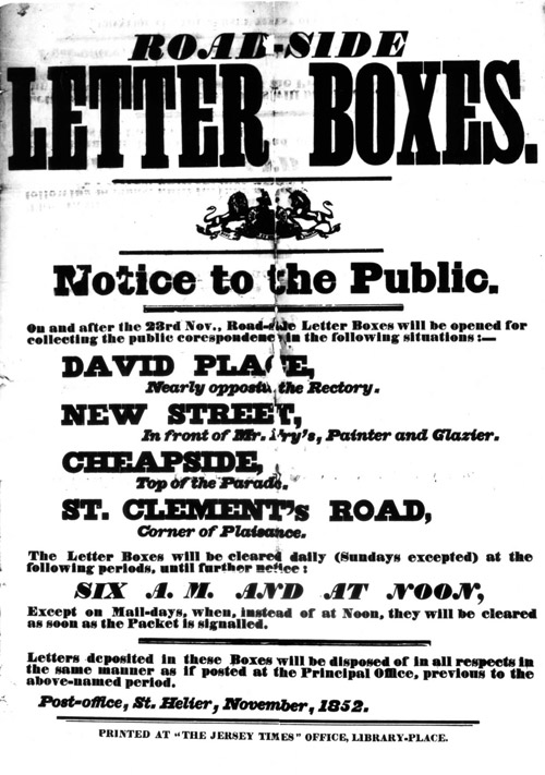 Post Office notice: Letter Boxes, Jersey, 1852.