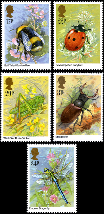 Insects stamp designs by Gordon Beningfield.