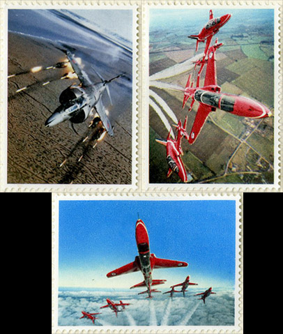 Trial essays of the Royal Air Force stamps, showing the Lightning Fighter and the Red Arrows.