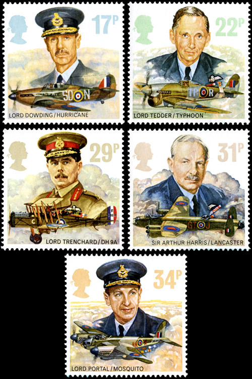 The issued Royal Air Force stamps.