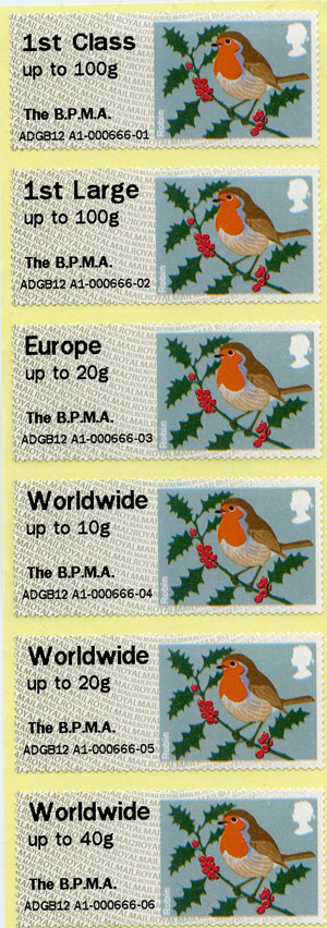 Christmas Robin stamps from our Post & Go machine.