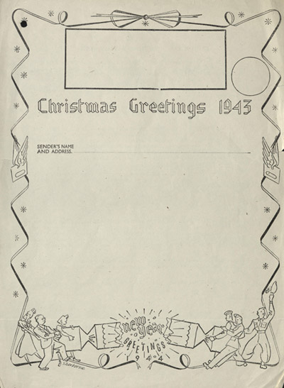 Airgraph form, Christmas 1943 (POST 52/692)