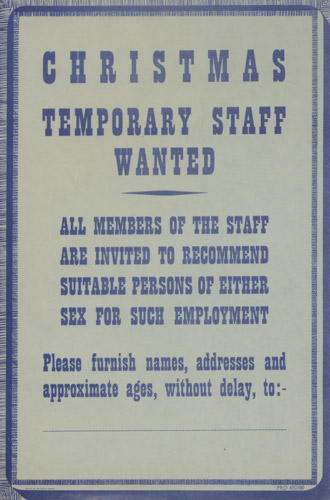 Christmas temporary staff wanted, General Post Office recruitment poster, 1946. (PRD 0450)