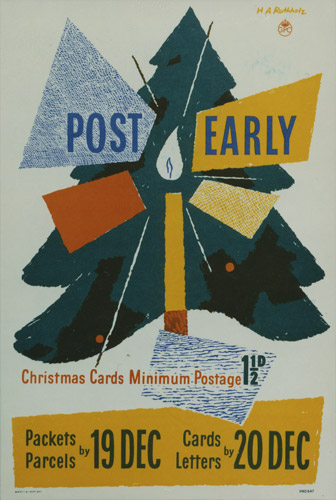 Poster advertising final posting dates for the festive period; featuring a Christmas tree and a candle, designed by Hans Arnold Rothholz, 1951. (POST 110/1276)