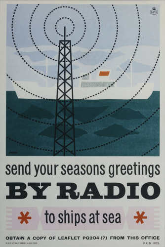 Poster advertising radio telegram service; featuring a ship and the radio mast, November 1960. (POST 110/1406)
