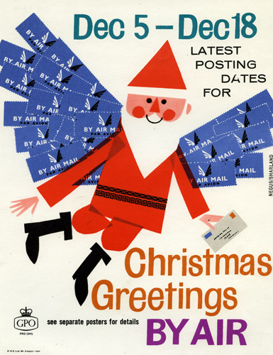 Poster advertising Christmas air mail services; featuring a flying Father Christmas with wings made out of Air Mail stickers, designed by Dick Negus and Philip Sharland, 1962. (POST 110/4254)