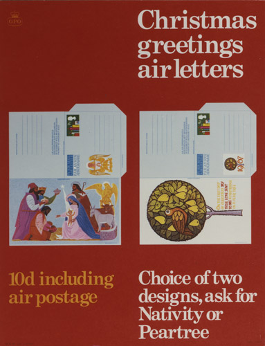 Poster advertising Christmas greetings stationery; featuring two air letters; one with a nativity scene and one with a pear tree, October 1967. (POST 110/1544)