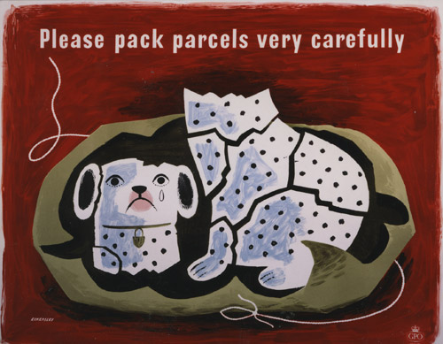 Please pack parcels very carefully, a poster designed for the GPO by Tom Eckersley. Several of Eckersley's posters appear on the London Underground miniature sheet.