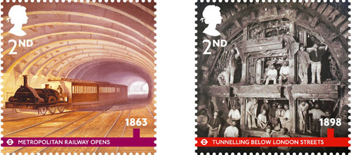 London Underground, 2nd Class stamps – 1863 - Metropolitan Railway Opens. A contemporary lithograph of a steam locomotive on the Metropolitan line near Paddington Station. 2nd Class – 1898 - Tunnelling Below London Streets. Railway construction workers, known as Navvies, shown excavating a 'deep cut' tube tunnel.