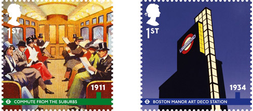 London Underground, 1st Class stamps – 1911 – Commute from the Suburbs. A carriage of Edwardian ladies and gentlemen illustrated on their commute to work from the suburbs. 1st Class – 1934 – Boston Manor Art Deco Station. Suburban expansion of the Piccadilly Lines in the 1920s and 30s led to the construction of many iconic art deco stations.
