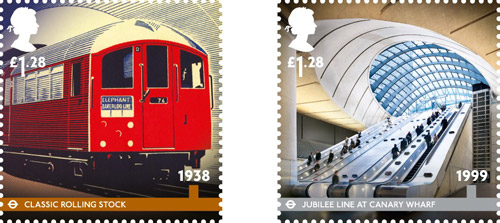 London Underground, £1.28 stamps – 1938 - Classic Rolling Stock. The classic trains introduced on the tube's deep cut lines in 1938 became a London icon. £1.28 – 1999 – Jubilee Line at Canary Wharf. Designed by Sir Norman Foster Canary Wharf Station is one of the most recent additions to the Underground network.