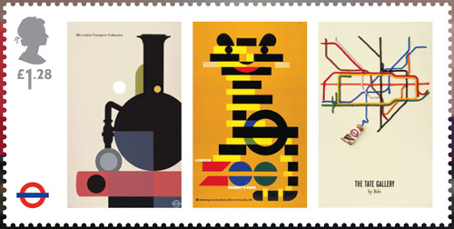 London Underground miniature sheet. £1.28 stamp – London Underground Posters – The London Transport Collection, London Zoo and The Tate Gallery by Tube. Reproductions of three classic London Underground Posters: The London Transport Collection (1975) by Tom Eckersley; London Zoo (1976) by Abram Games and The Tate Gallery by Tube (1987) by David Booth (Fine White Line Design).
