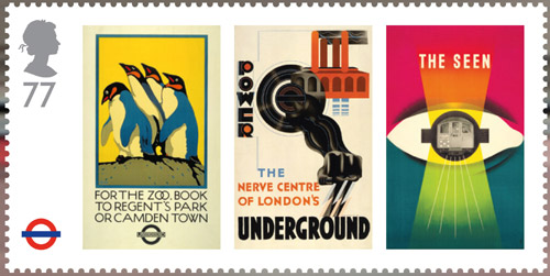 London Underground miniature sheet. 77p stamp – London Underground Posters –For the Zoo, Power and The seen. Reproductions of three classic London Underground Posters: – For the Zoo (1921) by Charles Paine; Power (1931) by Edward McKnight-Kauffer and The seen (1948) by James Fitton.