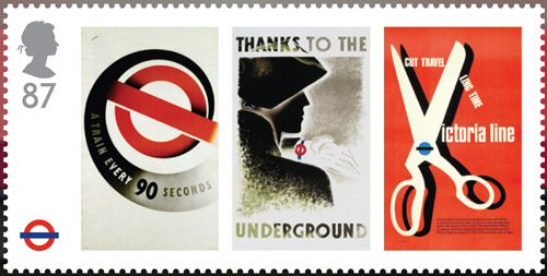 London Underground miniature sheet. 87p stamp – London Underground Posters – A train every 90 seconds, Thanks to the Underground and Cut travelling time. Reproductions of three classic London Underground Posters: A train every 90 seconds (1937) by Abram Games; Thanks to the Underground (1935) by Zero (Hans Schleger) and Cut travelling time, Victoria Line (1969) by Tom Eckersley.