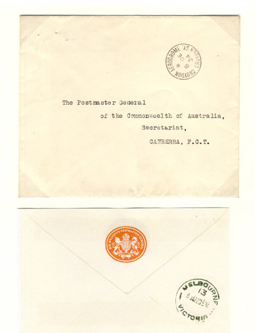 Cover addressed to The Postmaster General of the Commonwealth of Australia.