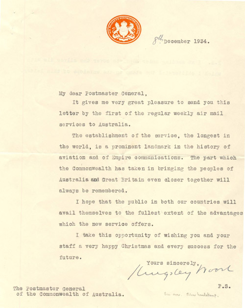 Letter addressed to The Postmaster General of the Commonwealth of Australia.