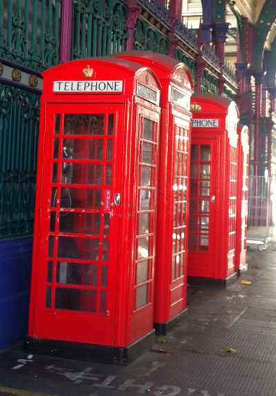 K2 and K6 telephone kiosks in Smithfield's Market.
