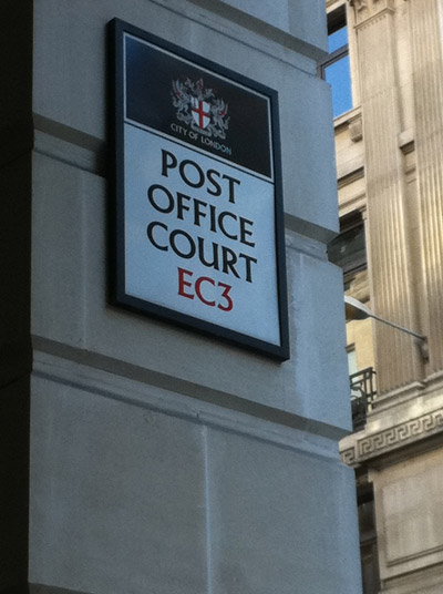 Post Office Court EC3 street sign.