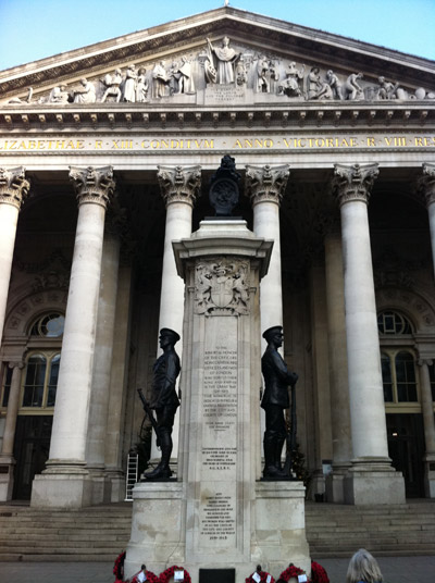 War Memorial outside the Bank of England.