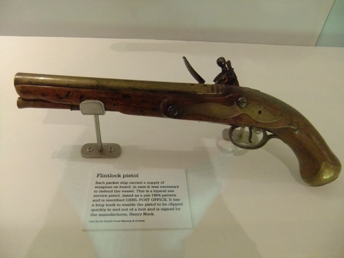 Flintlock pistol on display at the National Maritime Museum, Falmouth.