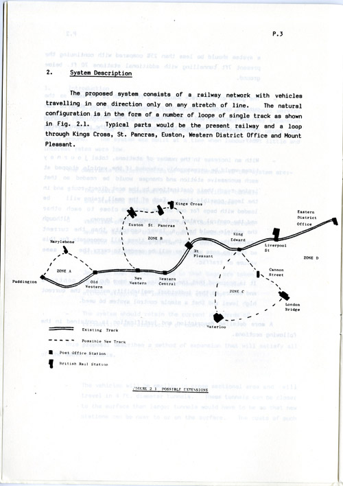 Plessey report, Post Office Railway Extension, 1982, diagram of possible extensions. (POST 119/177)