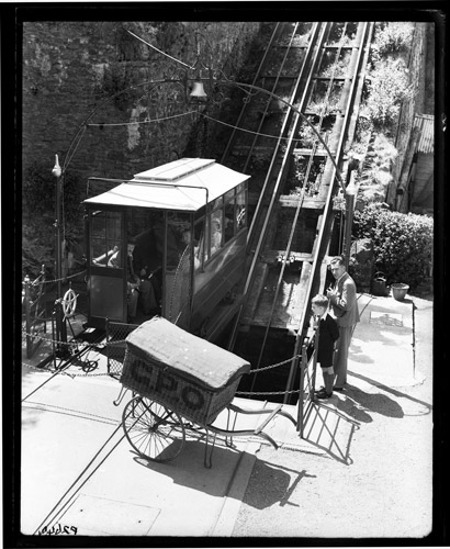 Lynmouth cliff railway and General Post Office trolley basket, Devon. (POST 118/1300)