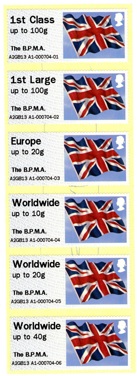 Union flag stamps from our Post & Go machine.