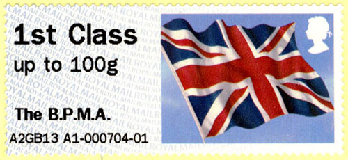 Union Flag Post & Go stamp from our machine.