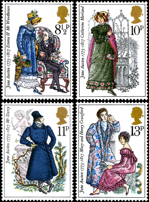 Birth Bicentenary of Jane Austen stamps, issued 22 October 1975. 7p - Emma & Mr Woodhouse (Emma), 8p - Catherine Morland (Northanger Abbey), 10p - Mr Darcy (Pride and Prejudice), 12p - Mary and Henry Crawford (Mansfield Park).