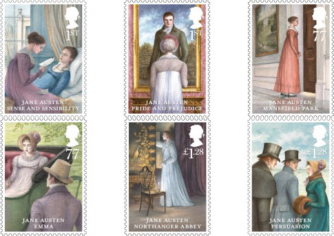 Jane Austen stamps, issued 21 February 2013. 1st Class – Sense and Sensibility, 1st Class – Pride and Prejudice, 77p – Mansfield Park, 77p – Emma, £1.28 – Northanger Abbey, £1.28 – Persuasion.