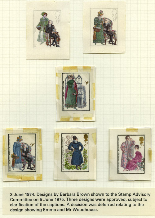 Designs by Barbara Brown shown to the Stamp Advisory Committee on 5 June 1975. Three designs were approved, subject to clarification of the captions. A decision was deferred relating to the design showing Emma and Mr Woodhouse. (QEII-117-21)