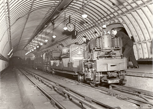 Post Office Underground Railway - train in tunnel. (POST 118/382)