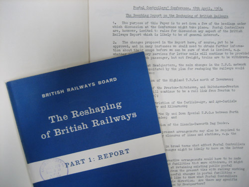 POST 73/183, Postal Controllers' Conference with copy of the Beeching report (from POST 18/208)