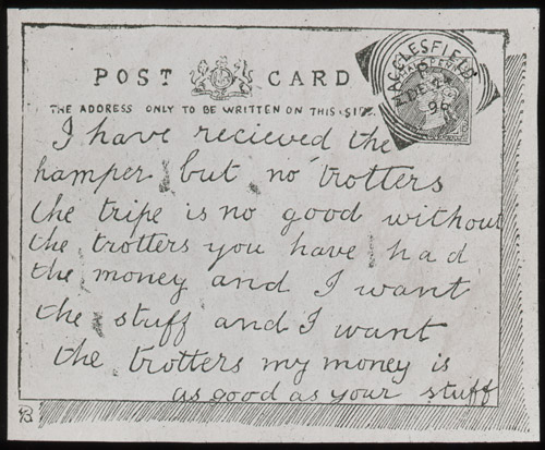 Tripe but but no trotters - an everyday postcard from the 1890s.(2010-0426/27)