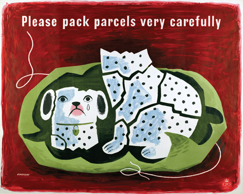 Please pack parcels very carefully, 1957. Designer: Tom Eckersley. (POST 110/2592)