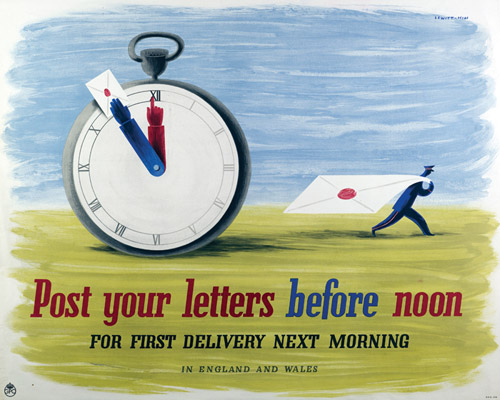 Post your letters before noon, 1941. Designers: Jan Lewitt and George Him. (POST 110/3184)