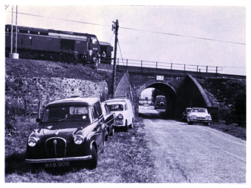 Bridego Bridge, half a mile down the line from where the train was ambushed. It was here the robbers unloaded the HVP (High Value Packet) coach and passed the mailbags down the embankment by human chain. (Thames Valley Police)