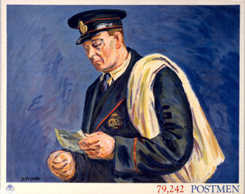 79,242 Postmen. Poster produced as part of a set of posters for schools promoting the General Post Office work force; featuring a postman. Artist: Duncan Grant. Date: March 1939. (POST 110/2501)