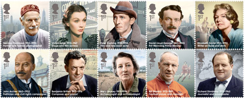 The set of Great Britons stamps, issued 16 April 2013.