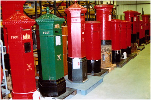 """Pillar box alley"" at The British Postal Museum Store."