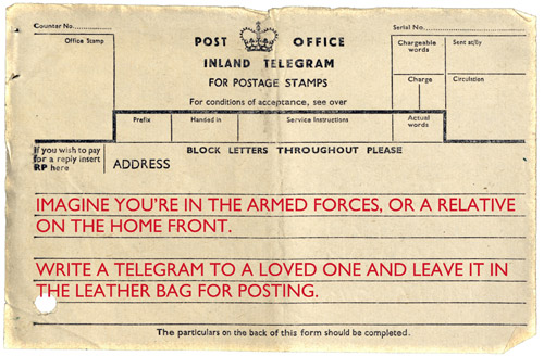 Write your own Post Office Telegram.