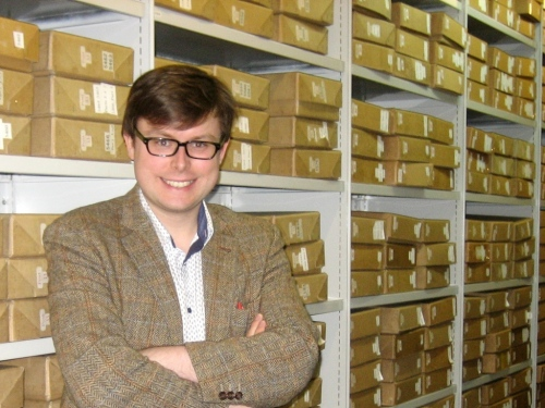 Matt in the Royal Mail Archive repository.