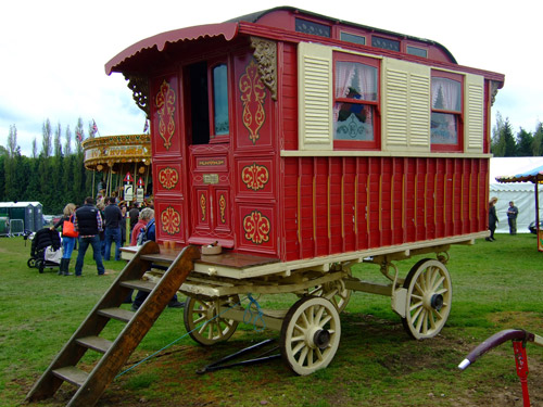 An old-fashioned gypsy caravan.