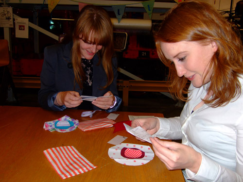 Craft Guerilla were also on hand stitching up a storm, helping visitors sew their own suffragette rosette.