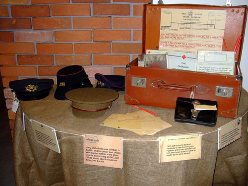 The suitcase opened to reveal the story of how the post office went to war. In 1939 the General Post Office was the biggest employer in the country. It played a vital role to keep communication going on the home front and abroad.