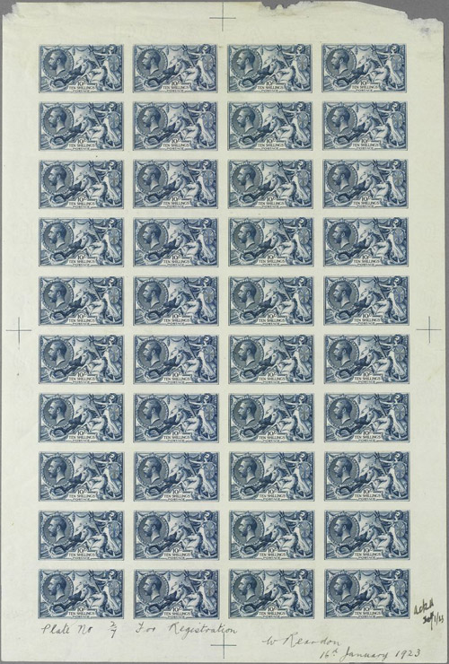 Lot 4: Complete sheet of the 1923 Bradbury Wilkinson 10s 'Seahorse' design, printed on 'Joynson' paper. Estimated at £100,000-120,000, it is extremely rare since no other examples exist on the philatelic market.