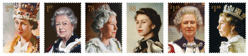 The six Royal Portraits stamps, issued 30 May 2013.
