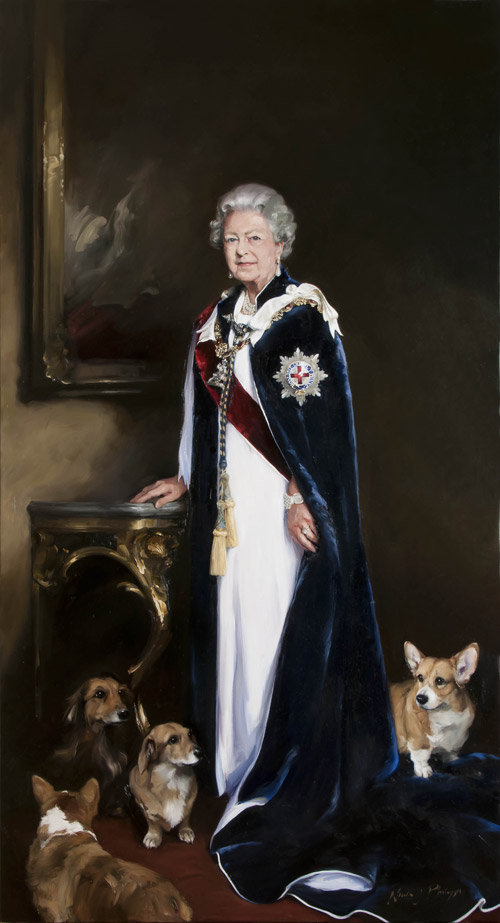 Portrait of Her Majesty The Queen by Nicky Philipps, specially commissioned by Royal Mail.